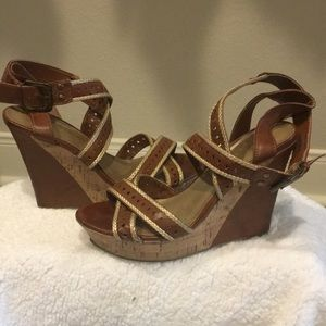 Cute Strappy Corked Wedges by G